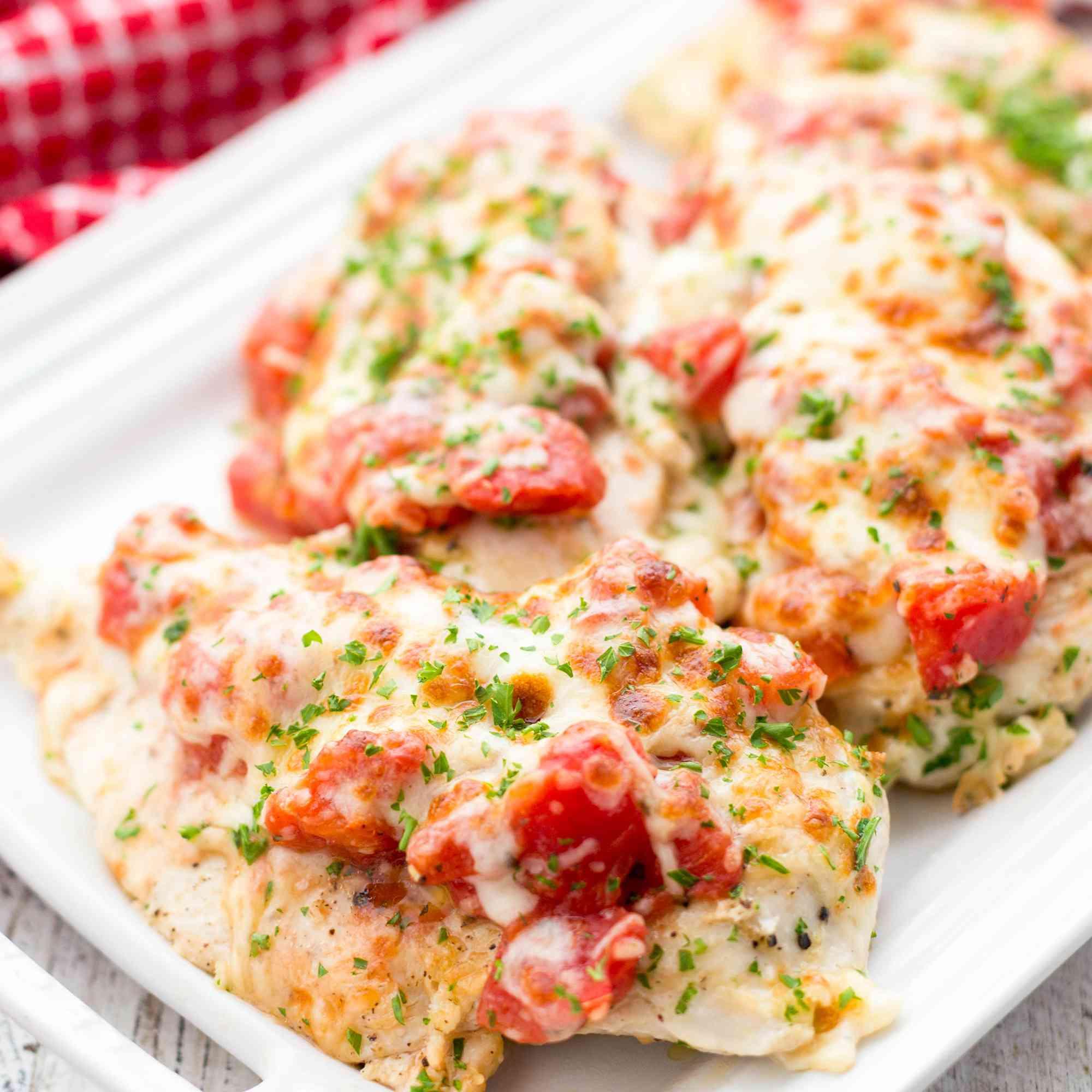 Platter of Cheesy Bruschetta Chicken Cutlets