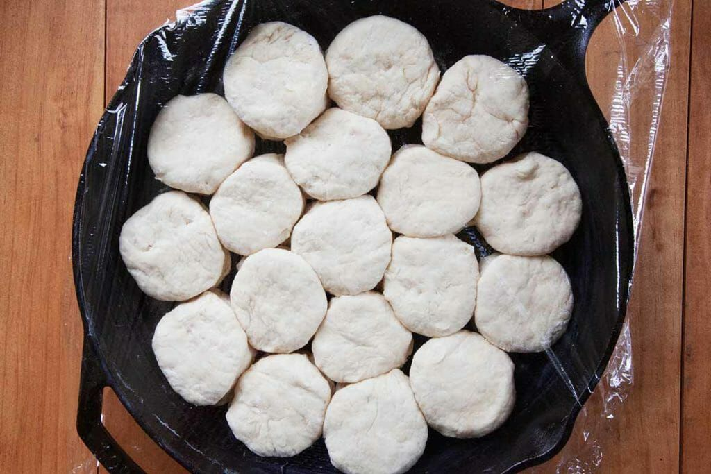 Cover angel biscuits with plastic wrap and let rise in pan for 1 hour.