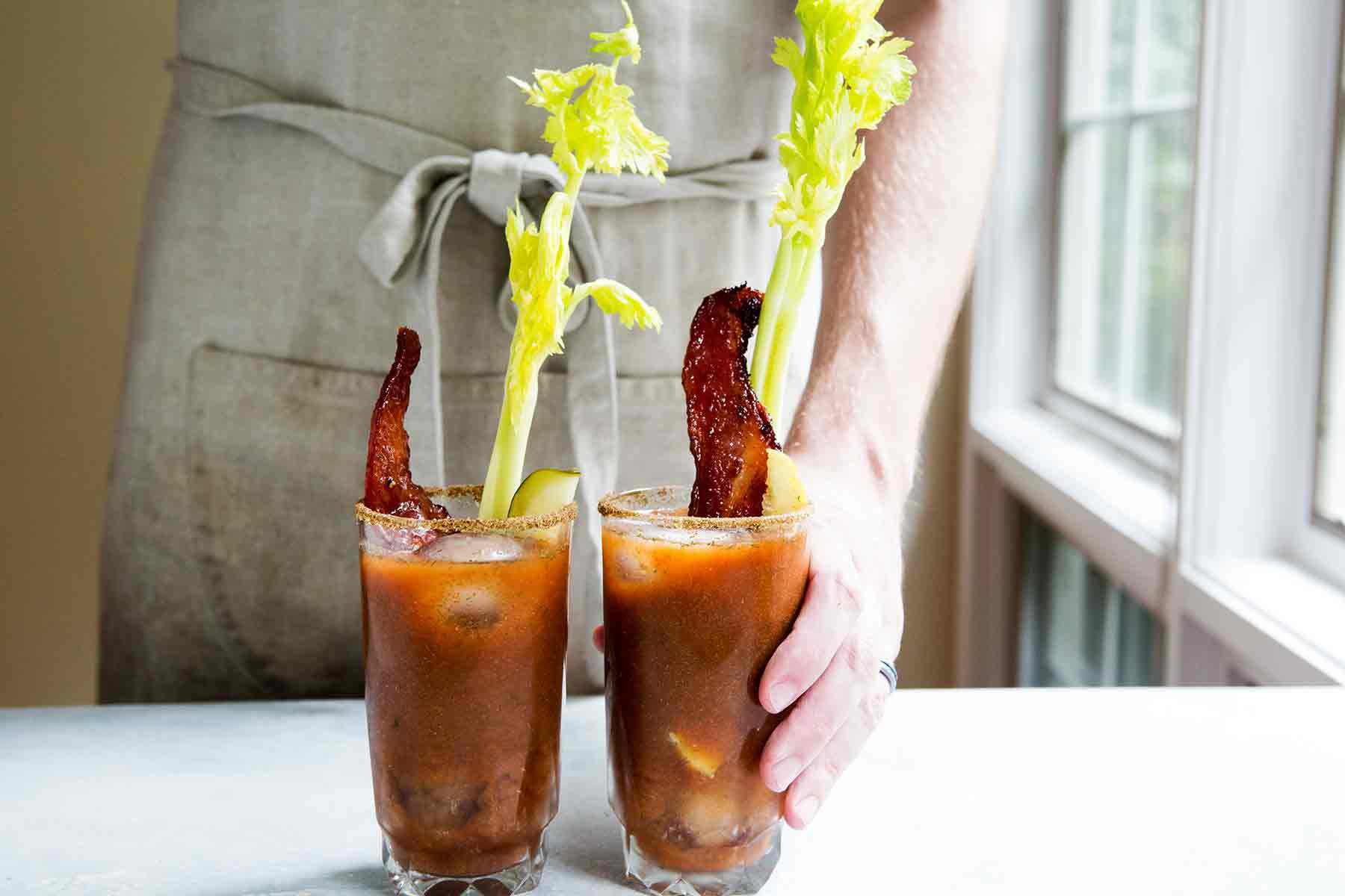 Bloody Marys with Celery, Bacon and a Dill Pickle