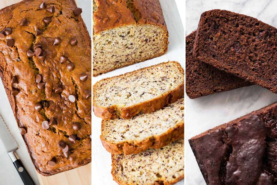 Three different banana bread images next to each other. From left to right: banana bread loaf studded with chocolate chips. The middle image is simple banana bread with a few slices staggered in front. The last image is chocolate banana bread with two slices stacked on top of each other.
