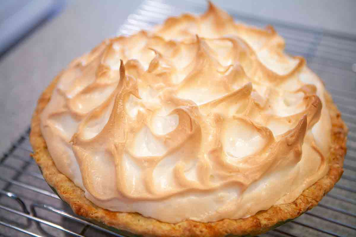 rhubarb meringue pie cooked and out of the oven