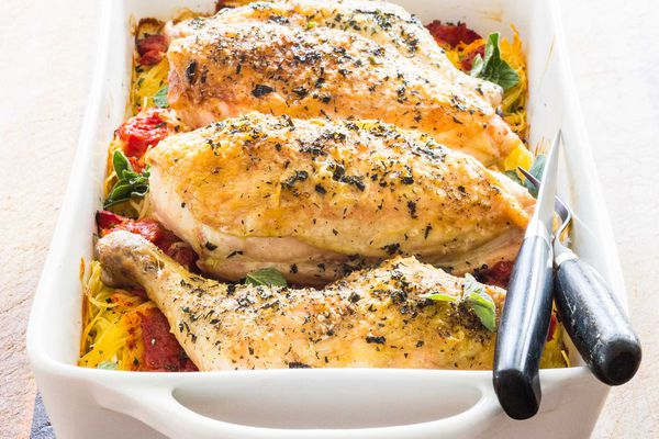 Roasted Chicken on Angel Hair