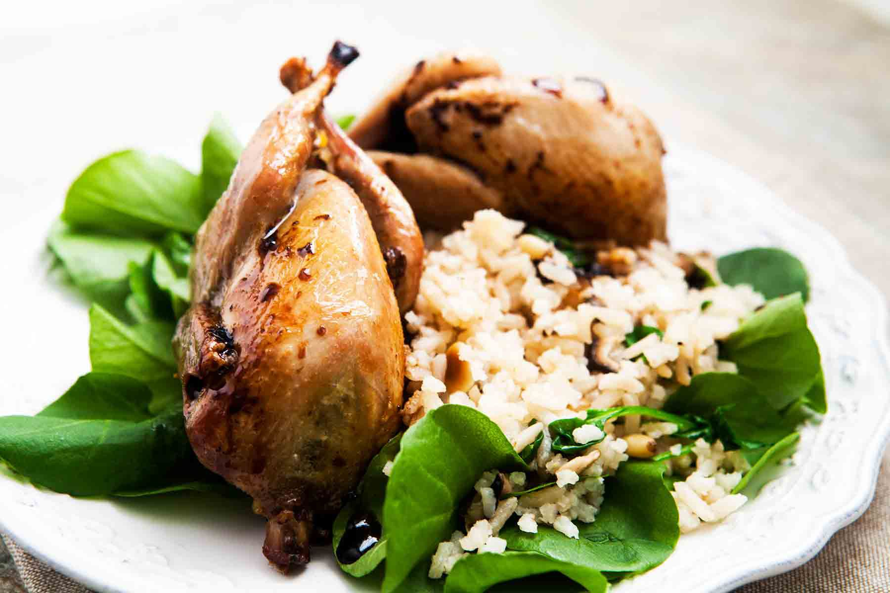 Roast Quail with Balsamic Reduction