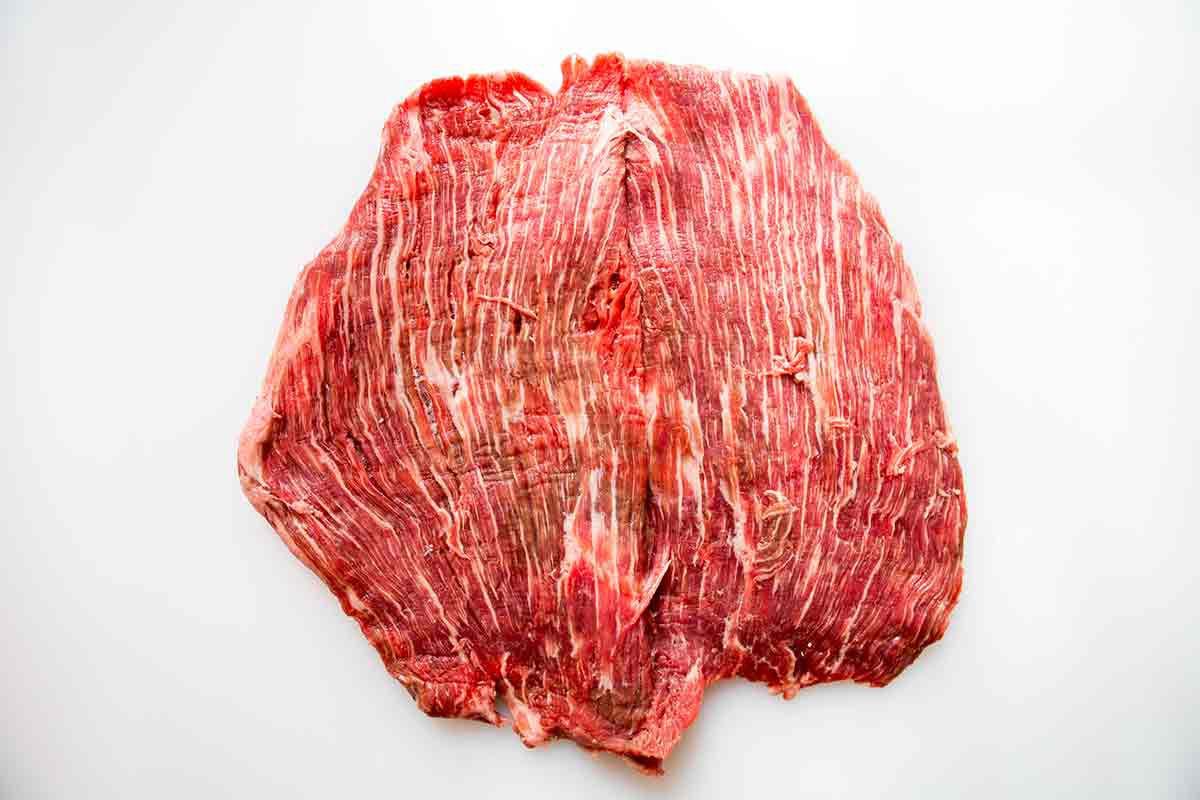 butterflied flank steak spread open