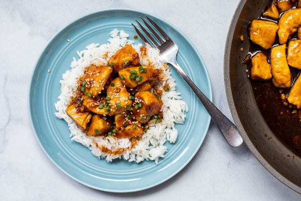 Overhead view of The BEST Bourbon Chicken Recipe served over rice.