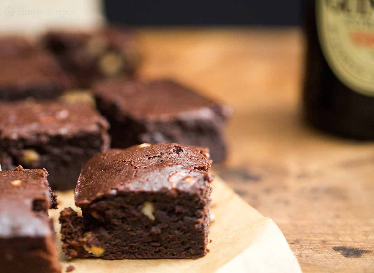 Several Guinness Brownies On Cutting Board