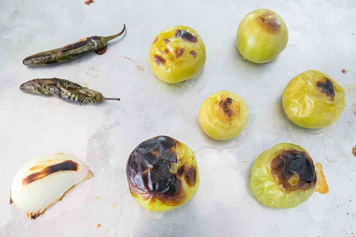 roasted tomatillos and chiles for sopa seca de fideo