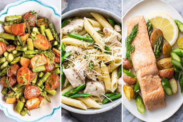 Side by side images of meals that include asparagus. From left to right: Roasted Potatoes and Asparagus with lemon-mustard dressing, Creamy chicken and asparagus pasta, Oven-roasted salmon, asparagus and new potatoes.