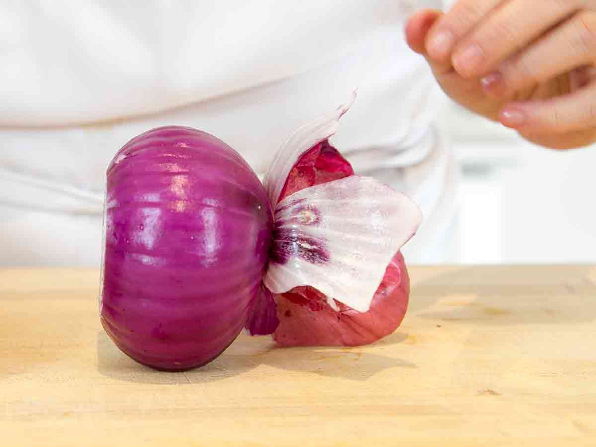 with the small sliver sliced on the bottom, the onion stands up on its own