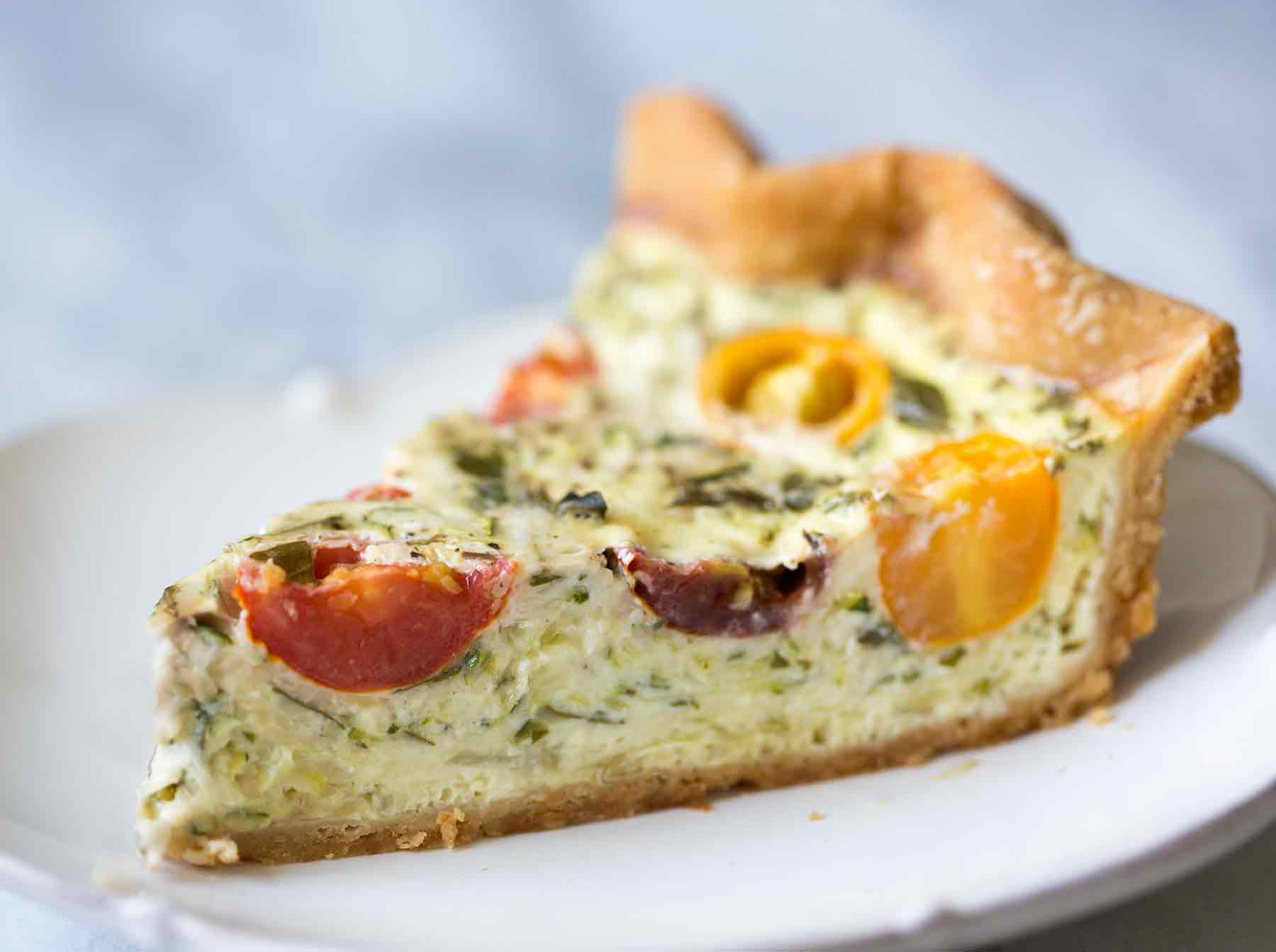 Zucchini and tomato quiche