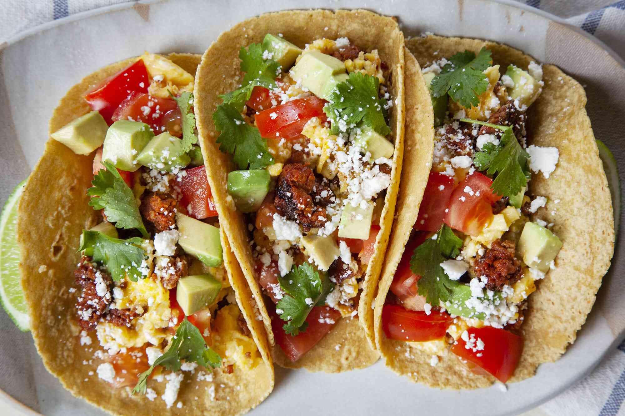 Breakfast Taco Recipe with Chorizo and Eggs