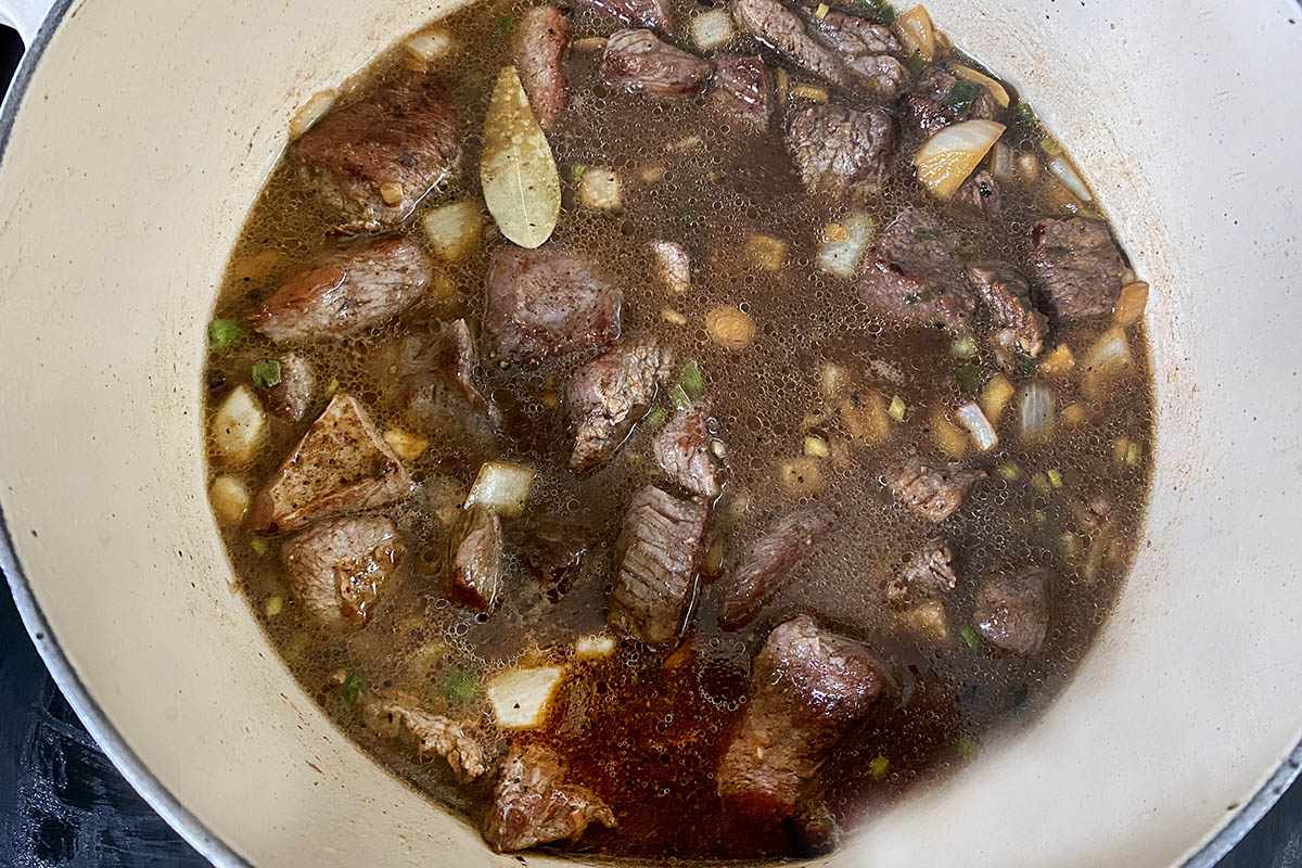 Broth added to the beef to make a Jamaican Stewed Beef Recipe.