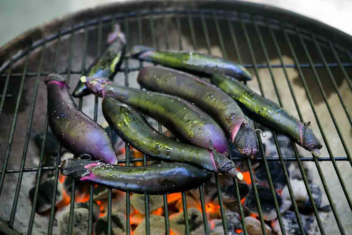 grill japanese eggplant cut side down over charcoal