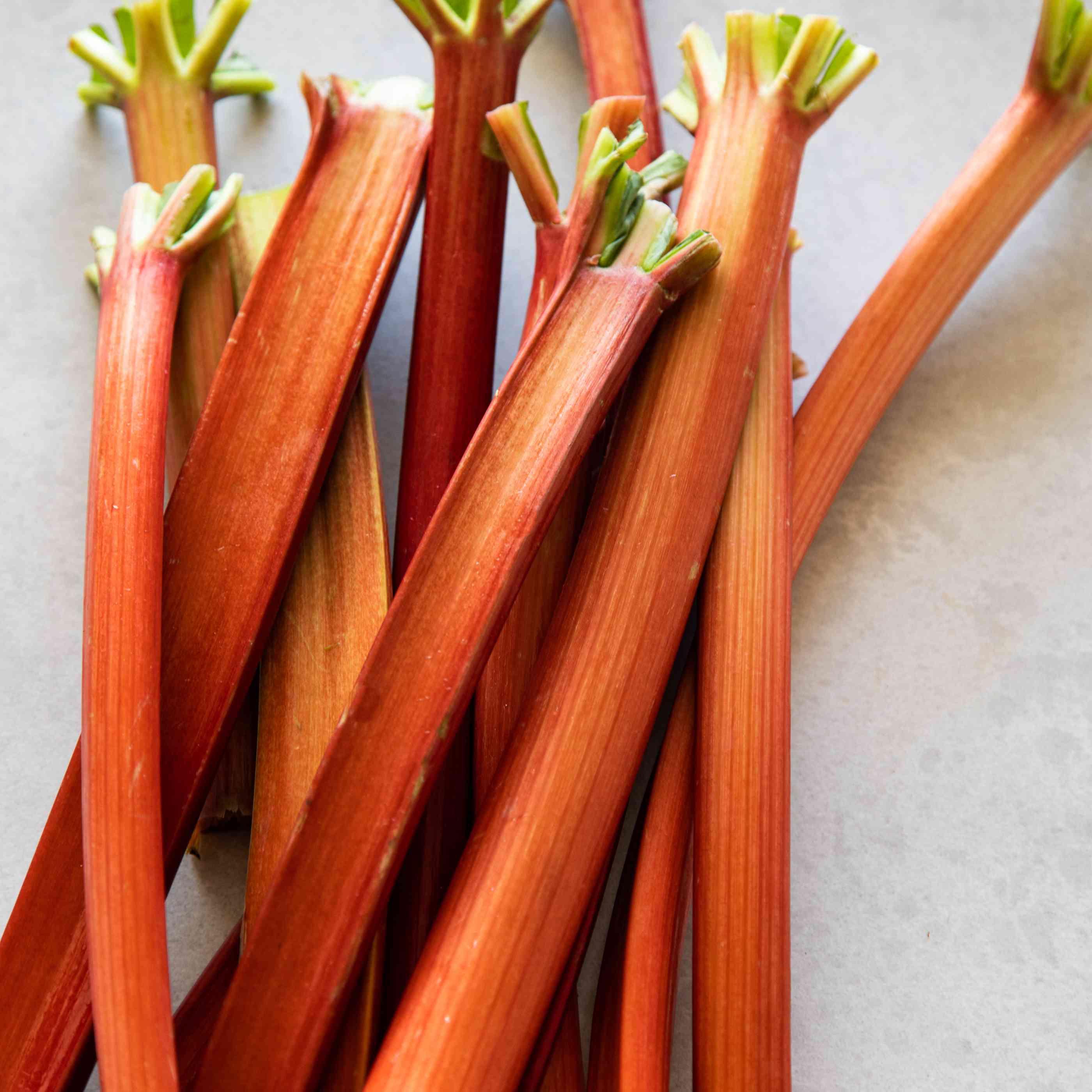 Red green rhubarb stalks