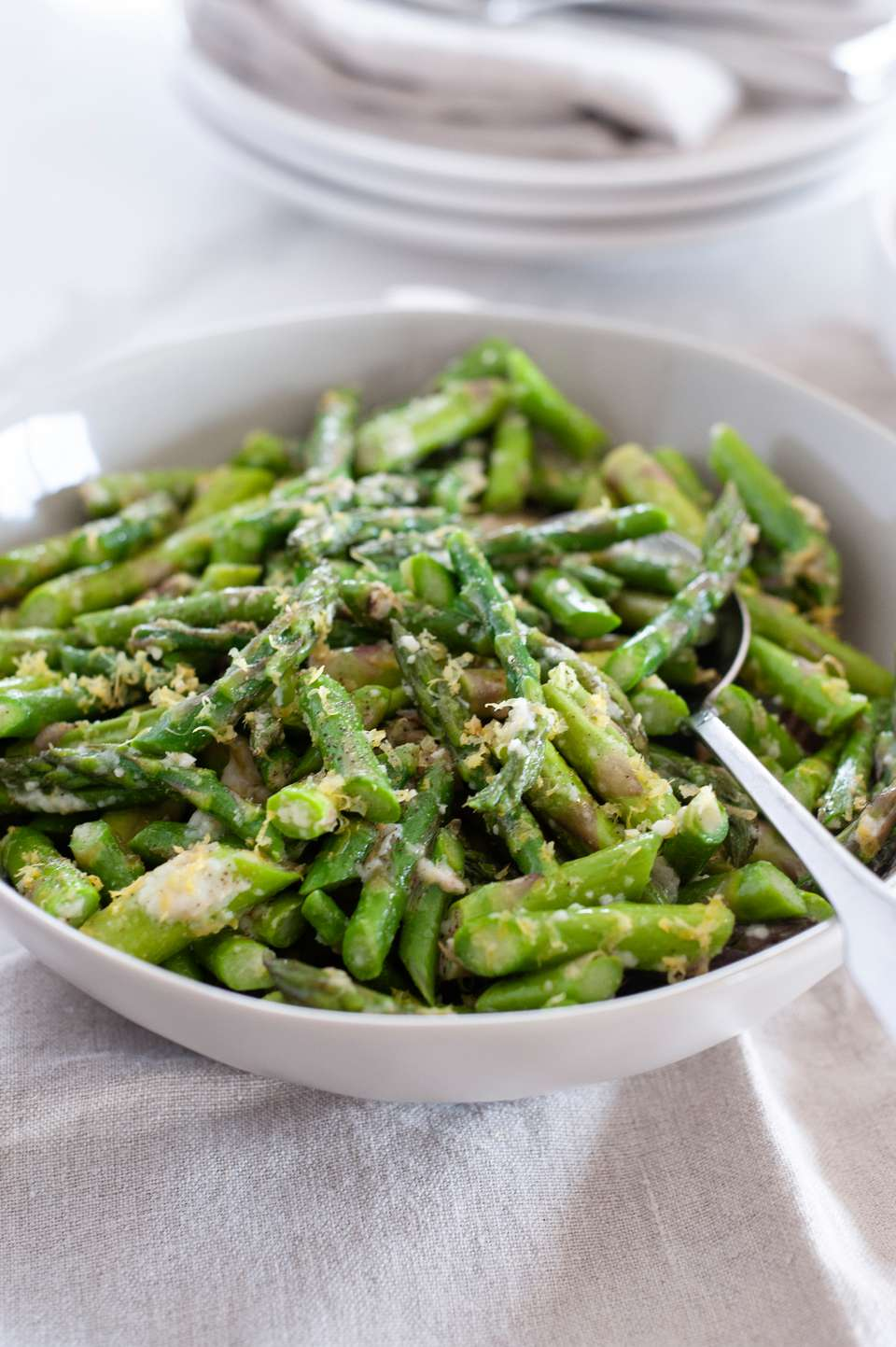 The best asparagus in a serving bowl.