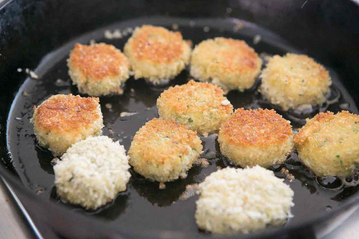 fry crab cakes in butter and olive oil