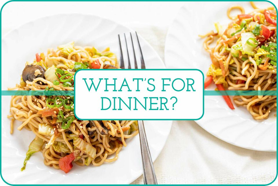"""""""What's For Dinner"""" with two fluted plates of Vegetable Lo Mein."""
