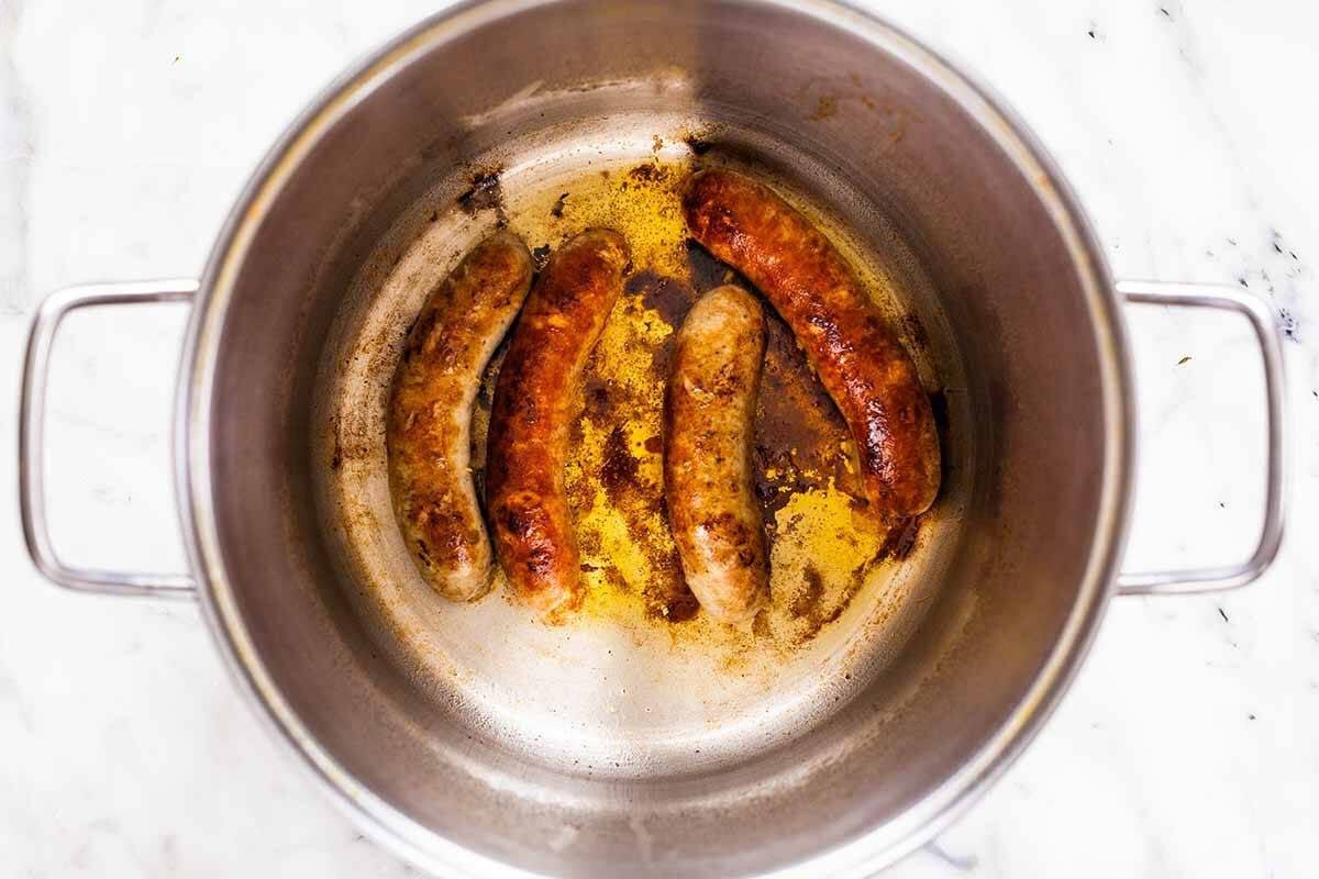 Clam bake recipe brown the sausages