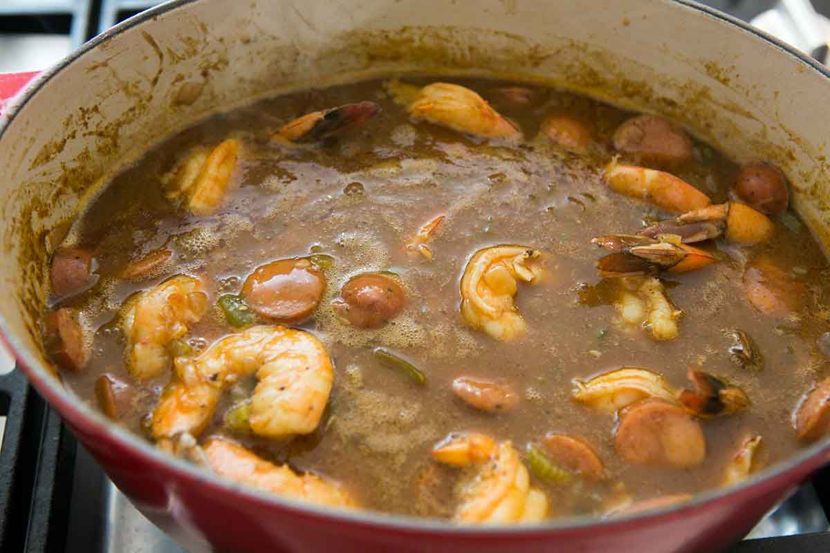 Cook the gumbo until the shrimp are cooked through
