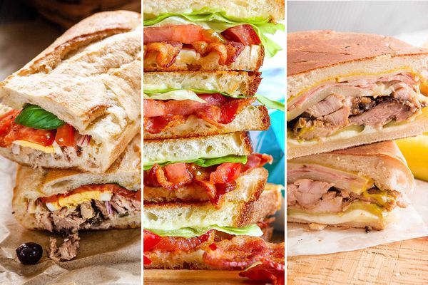Three photos of summer sandwiches next to each other. To the left is a Pan Bagnat. The middle photo is Grilled Cheese BLT with bacon, lettuce and tomato visible. The photo to the right is two Cuban sandwiches stacked on top of each other.