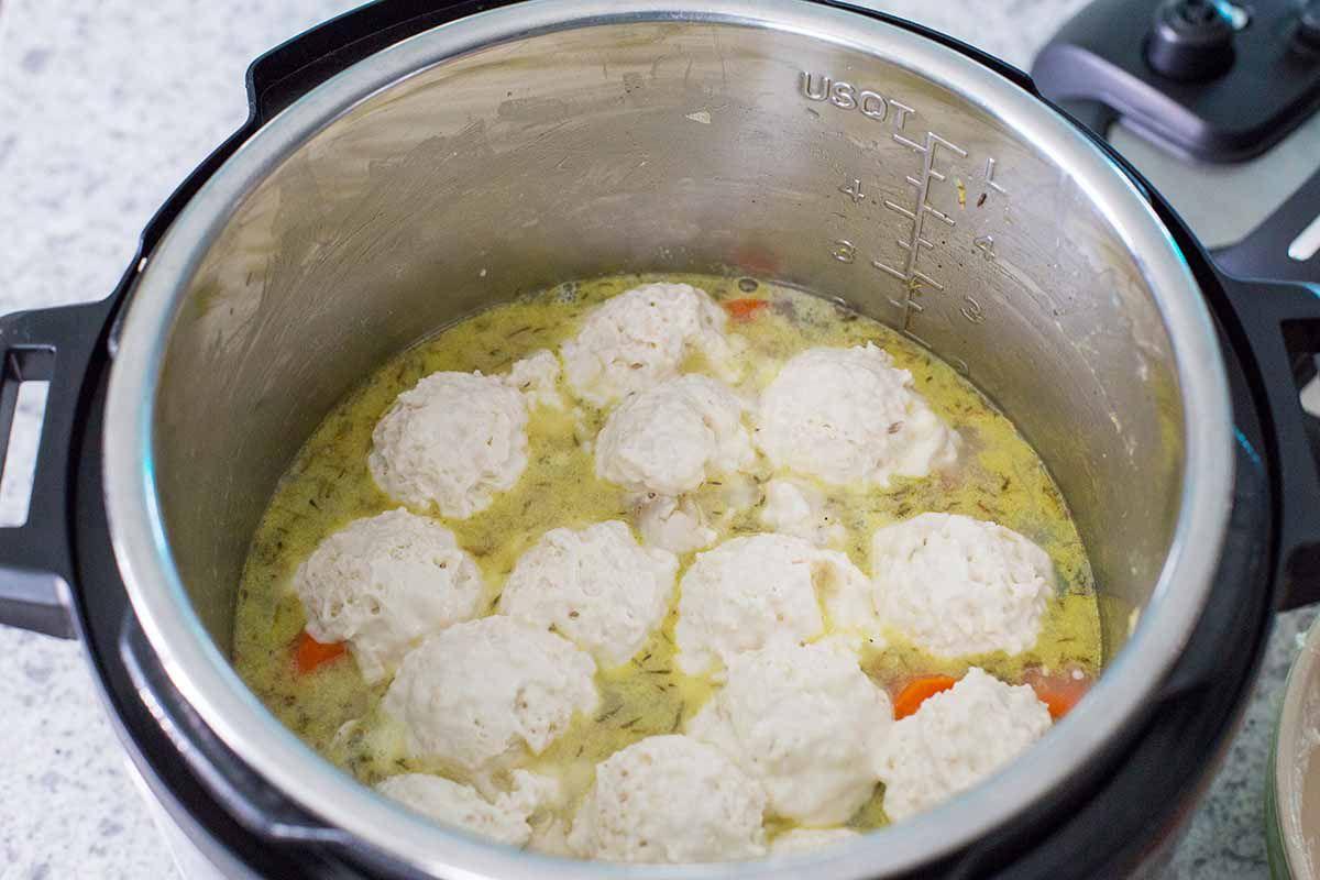 Dumplings for easy homemade chicken and dumplings in an instant pot.
