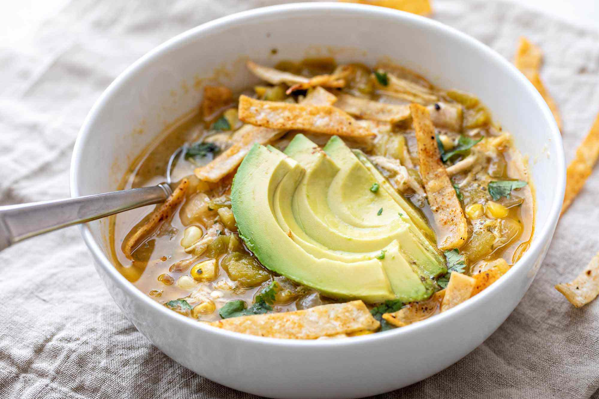 Green Chicken Chili recipe made in the slow cooker