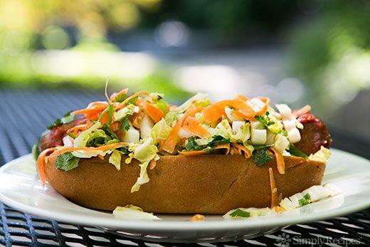 Sriracha Hot Dog with Asian Slaw on Simply Recipes