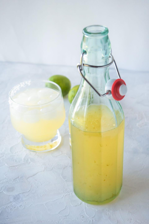 The BEST margarita mix recipe in a flip top jar.