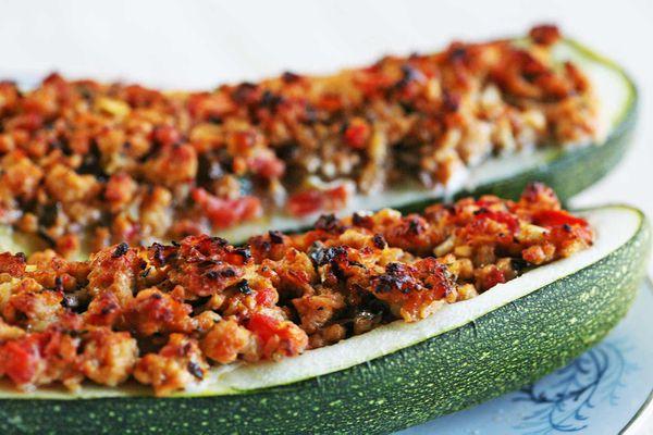 Turkey Sausage Stuffed Zucchini