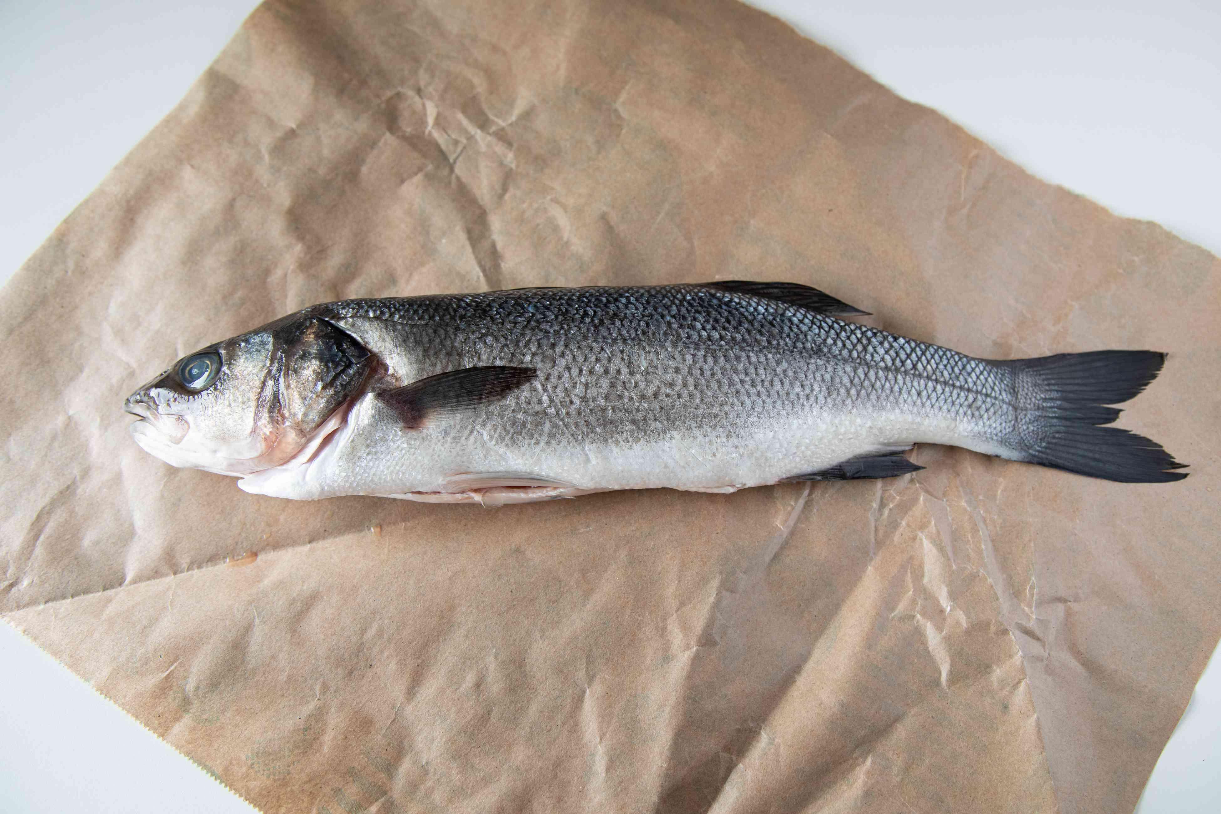 A whole branzino fish set on a piece of parchment paper.