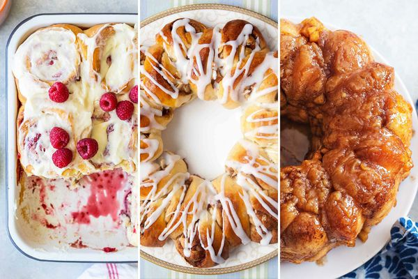 Three photos side by side. On the left is a pan of Raspberry Jam Rolls. In the center is a platter of Swedish Coffee Bread. On the right is Caramel Apple Monkey Bread.