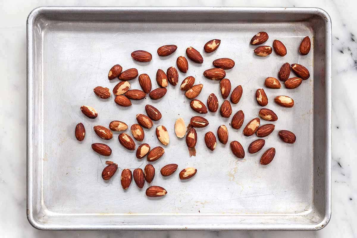 Almond Mint Pesto - almonds on baking sheet