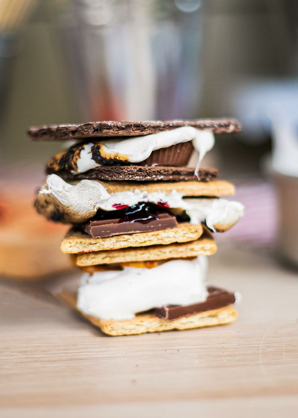 Smores stacked on top of each other for a Backyard Smores Party.