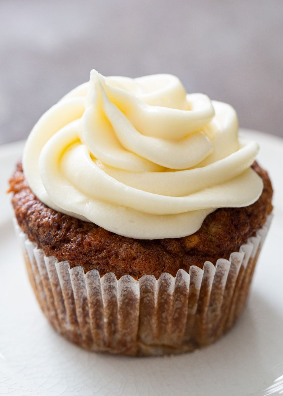 Cream Cheese Icing piped onto the top of a cupcake