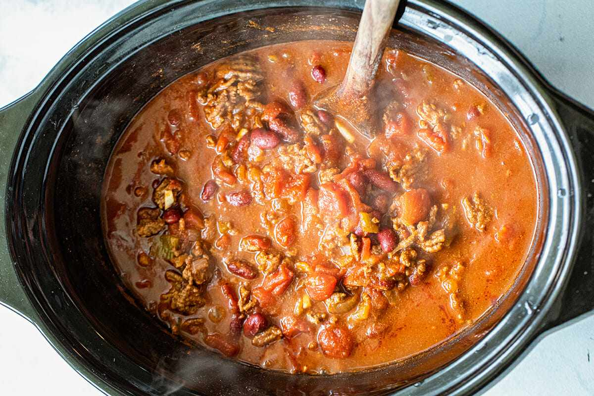 A crock pot filled with the Best Slow Cooker Chili.