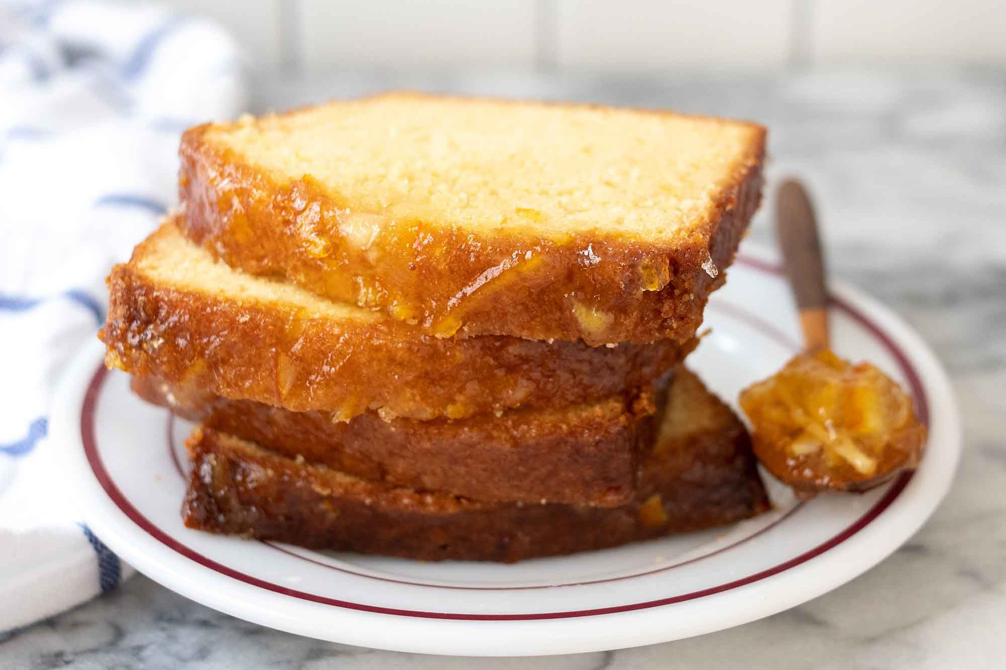 Stacked slices of Marmalade Loaf Cake