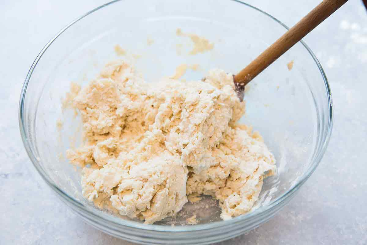 mix the strawberry shortcake biscuit dough