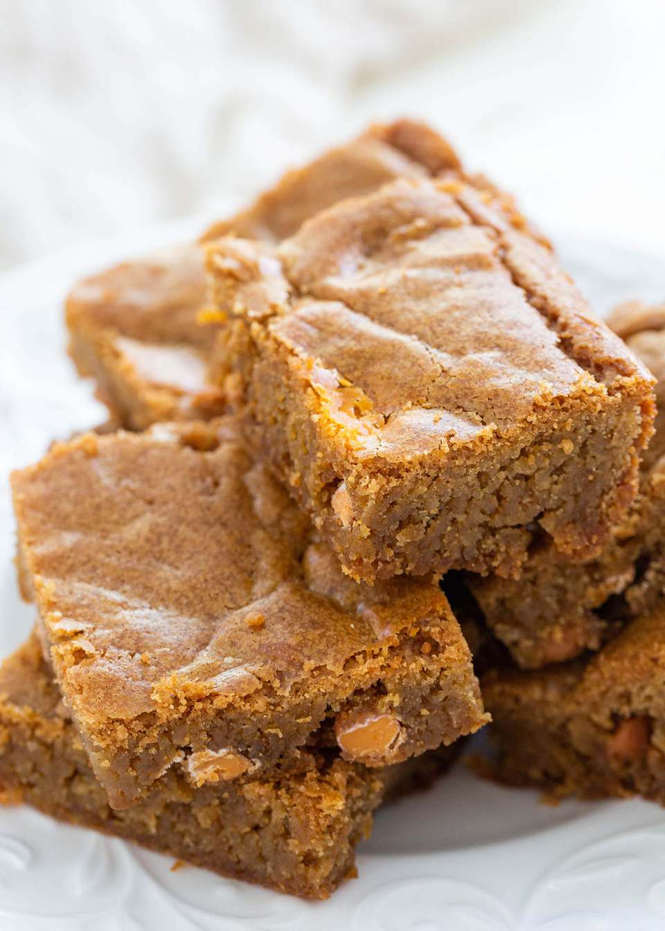 Best blondies ready to eat on a plate
