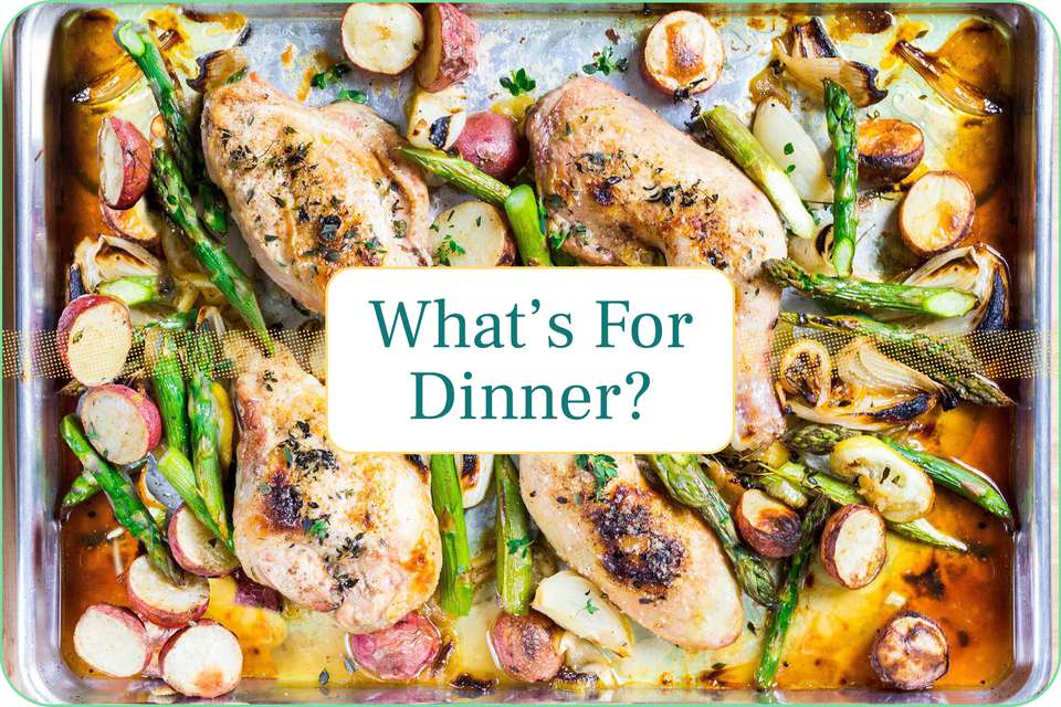 """""""What's for Dinner?"""" with Sheet Pan Chicken with Asparagus and Potatoes pictured behind the caption."""