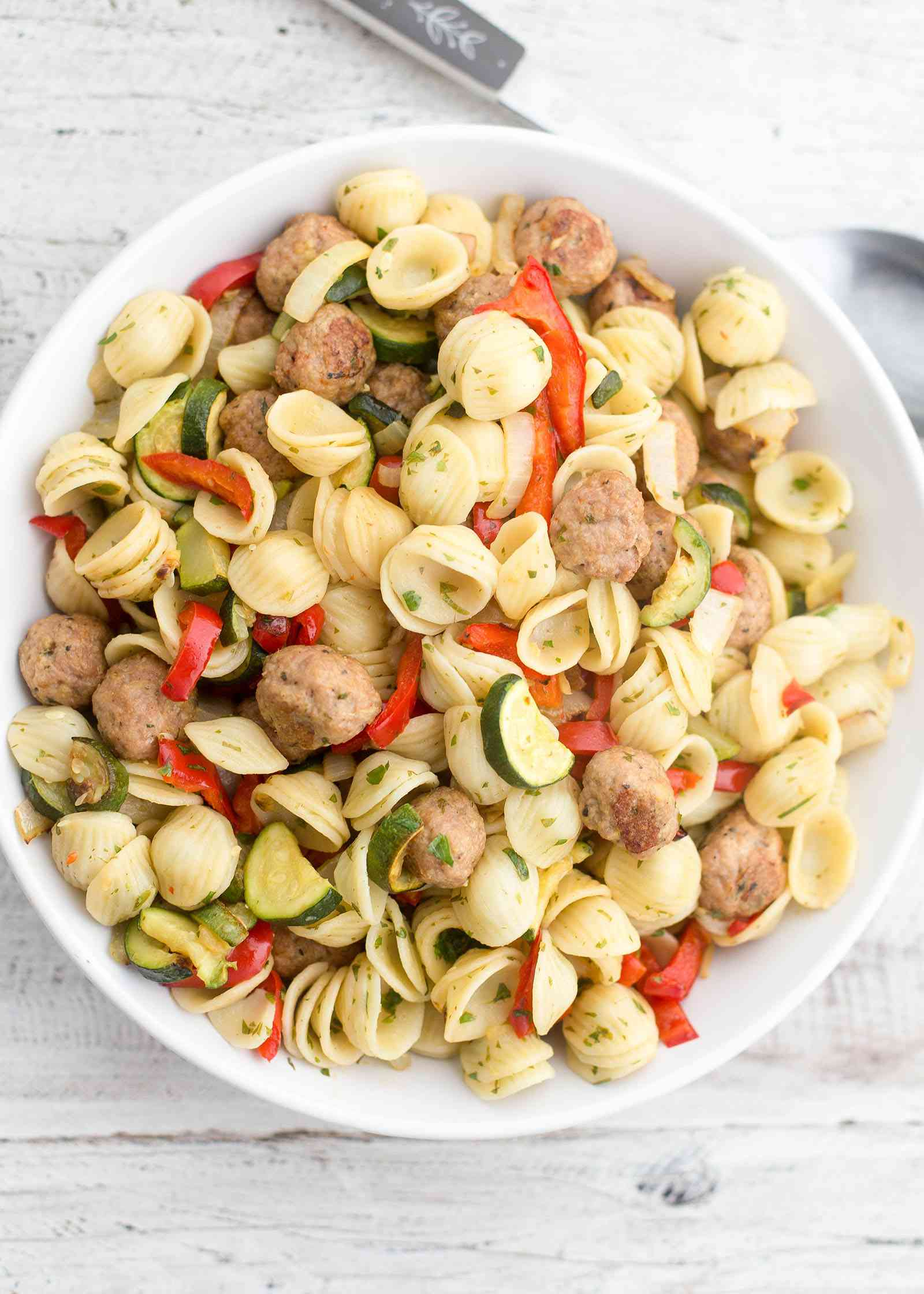 Pasta with Turkey Meatballs and Vegetables