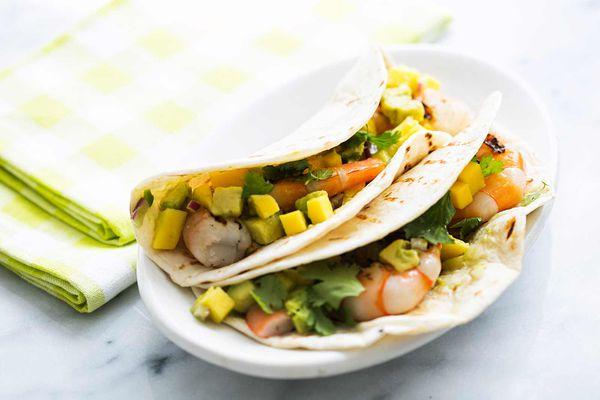 Grilled Shrimp Tacos with Avocado Mango Salsa