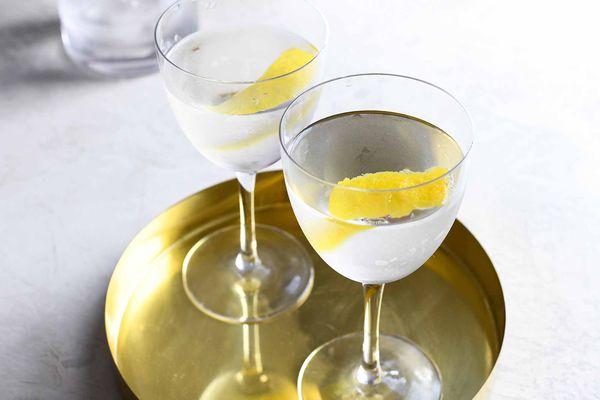 Vodka Martini Stirred Recipe two martinis on gold tray