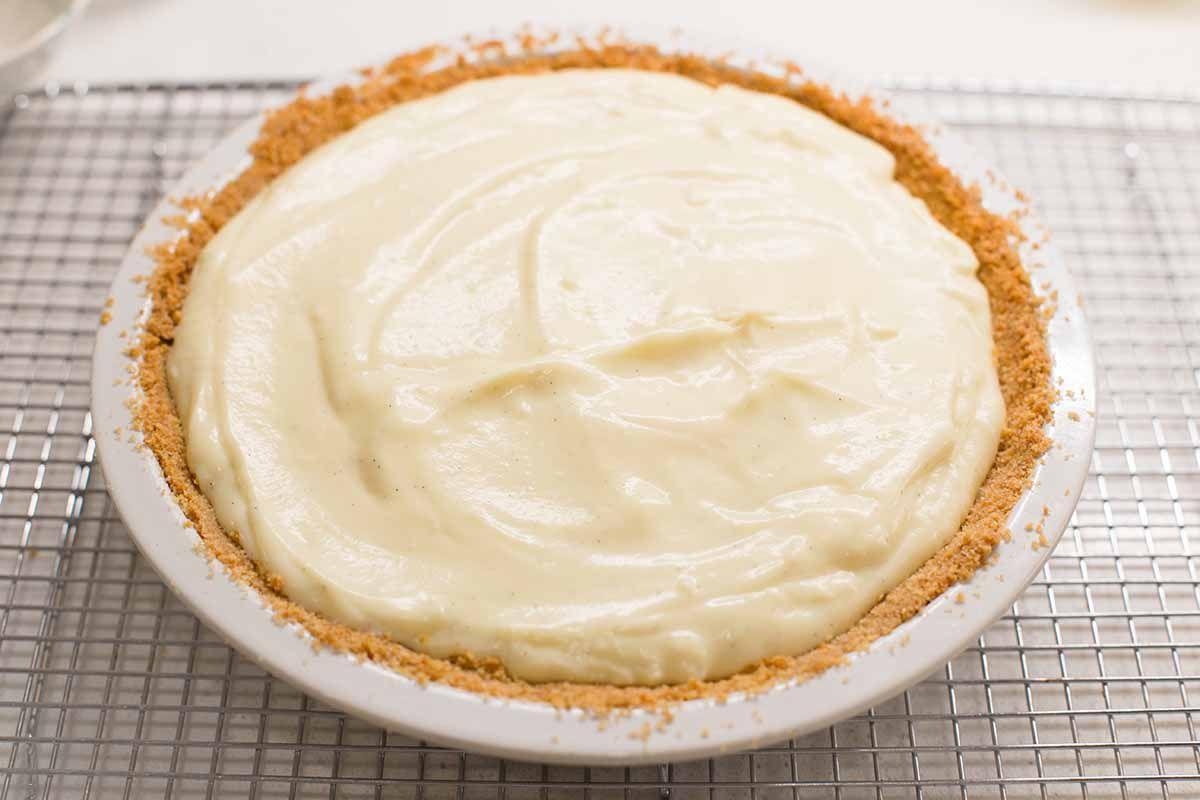Banana cream pie in a vanilla waffer crust.