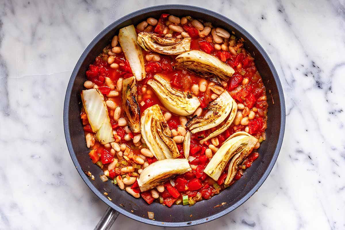 Shrimp Dinner with White Beans - fennel, tomatoes, and beans in a skillet