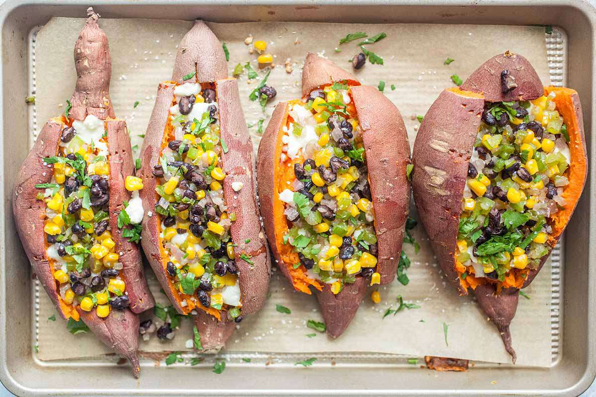 Twice Baked Sweet Potatoes with Black Beans stuff the sweet potatoes