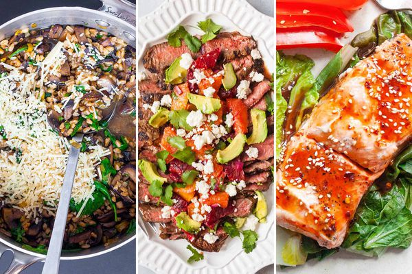 Triptych with Farro, Mushroom and spinach, flank steak with oranges, and ginger soy salmon