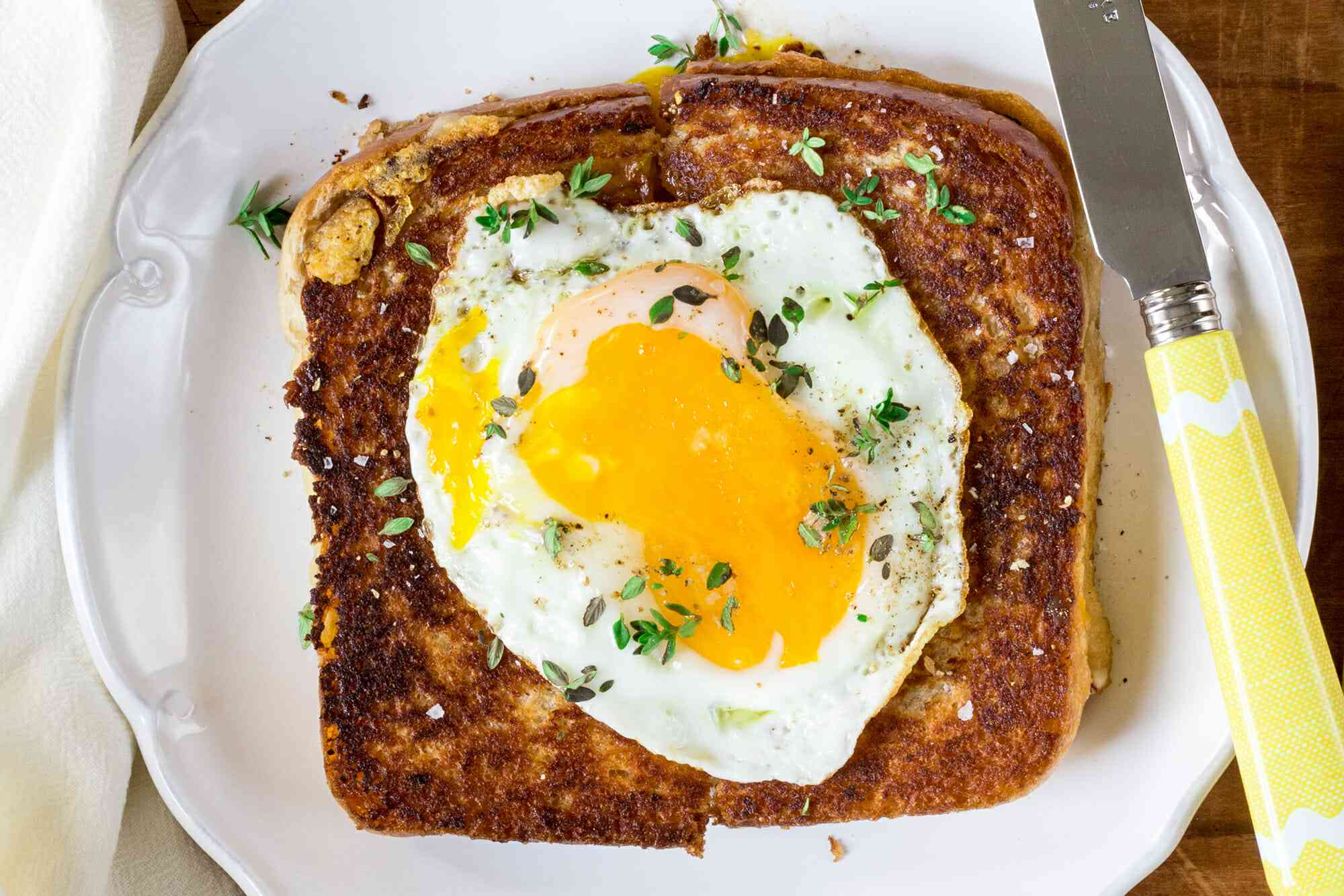 Ham and Grilled Cheese Sandwich with Egg