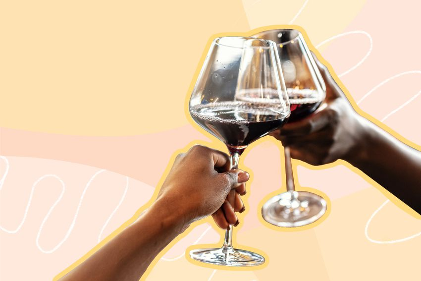 Photo composite of two hands clinking wine glasses