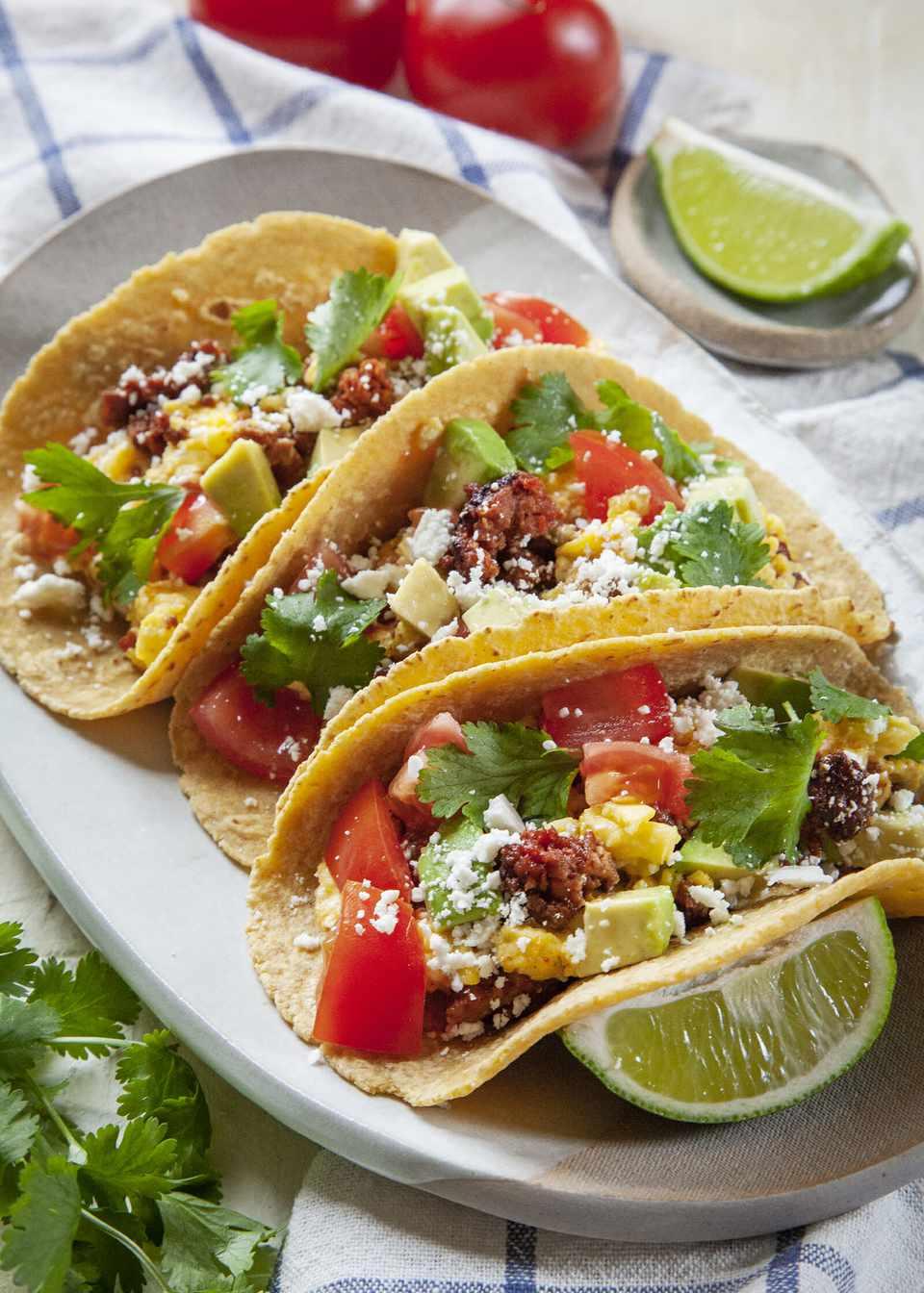 Egg Breakfast Tacos with Chorizo