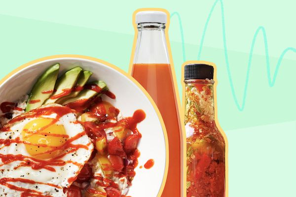 Photo composite of hot sauce bottles and a grain bowl with hot sauce on top.